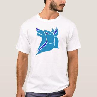 青く、淡いブルーの無地のなオオカミの頭部 Tシャツ