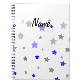 青く、淡いブルー灰色の星パターン ノートブック