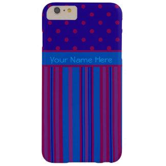 青く、縞模様のバーガンディの水玉模様 BARELY THERE iPhone 6 PLUS ケース