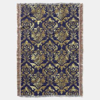 青く、金属金ゴールドのヴィンテージの花柄のダマスク織 スローブランケット