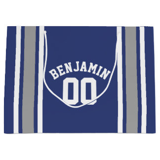 青く、銀製のスポーツのジャージーの名前をカスタムする数 ラージペーパーバッグ