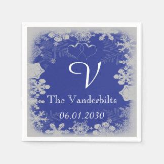 青く、銀製の雪片の結婚式 スタンダードカクテルナプキン