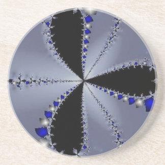 青く、銀製の風車 コースター