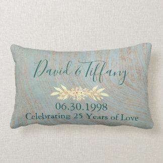青く、銅の第25結婚記念日 ランバークッション