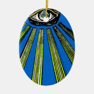青すべての見る目の正方形およびコンパスの石大工 セラミックオーナメント