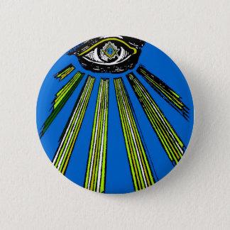 青すべての見る目の正方形およびコンパスの石大工 缶バッジ