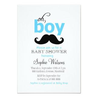 青それは男の子の髭のベビーシャワー招待状です カード
