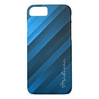 青によって傾けられるストライプなiPhone 7の場合-カスタムな文字 iPhone 8/7ケース