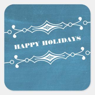 青によって傾けられる黒板の休日のステッカー スクエアシール