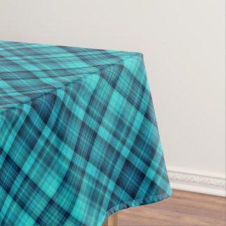 青によって影で覆われる格子縞パターン テーブルクロス