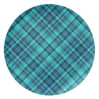 青によって影で覆われる格子縞パターン プレート