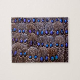 青によって斑点を付けられるキジの羽 ジグソーパズル