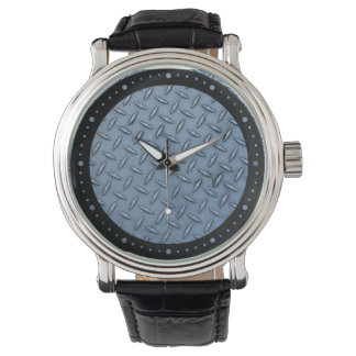 青によって電流を通される鋼鉄質の黒の革腕時計 腕時計