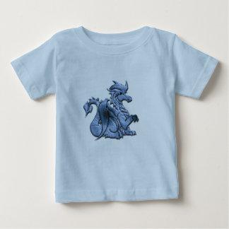 青によって飛ぶドラゴンのベビーのTシャツ ベビーTシャツ