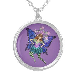 青によって飛ぶ妖精 シルバープレートネックレス