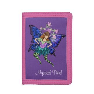 青によって飛ぶ妖精 ナイロン三つ折りウォレット