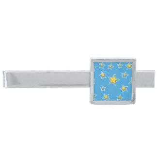 青のおもしろいの漫画の星 銀色 ネクタイピン