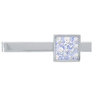 青のかわいいスカルのデザイン 銀色 ネクタイピン