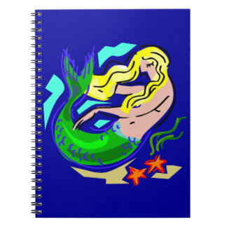 青のかわいくカラフルな人魚の夢 ノートブック