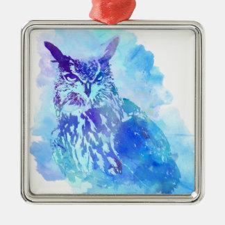青のかわいく、かわいらしくアートなフクロウのデザイン メタルオーナメント