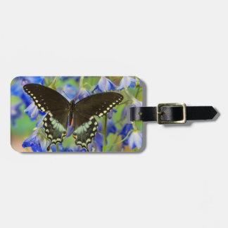 青のアゲハチョウの蝶 ラゲッジタグ