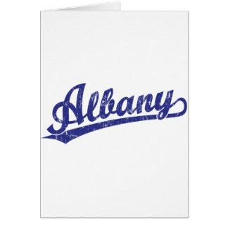 青のアルバニーの原稿のロゴ カード