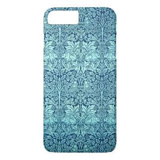 青のウィリアム・モリスの兄弟のウサギパターン iPhone 8 PLUS/7 PLUSケース