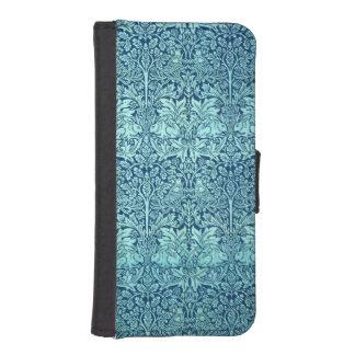 青のウィリアム・モリスの兄弟のウサギパターン iPhoneSE/5/5sウォレットケース