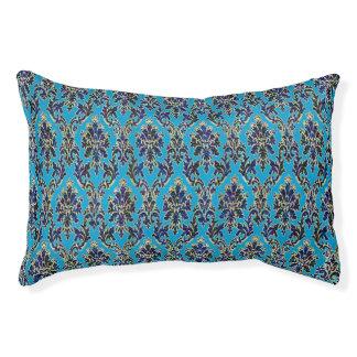 青のエレガントな宝石で飾られたダマスク織