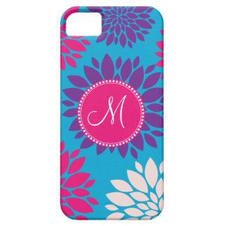 青のカスタムなモノグラムのイニシャルのピンクの紫色の花 iPhone SE/5/5s ケース