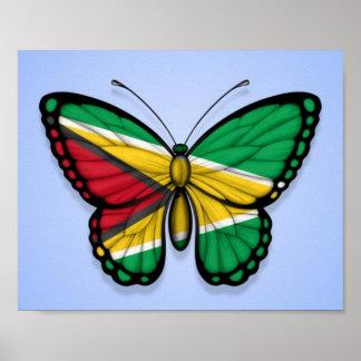 青のガイアナの蝶旗 ポスター
