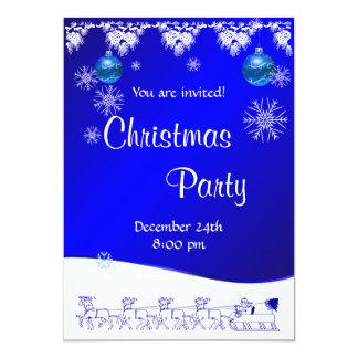 青のクリスマスのパーティの招待状 カード