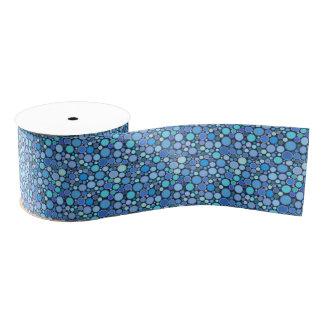 青のクールな泡パターン グログランリボン