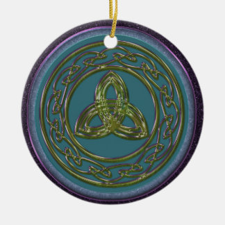 青のケルト族の三位一体の結び目のオーナメント、緑の紫色 セラミックオーナメント