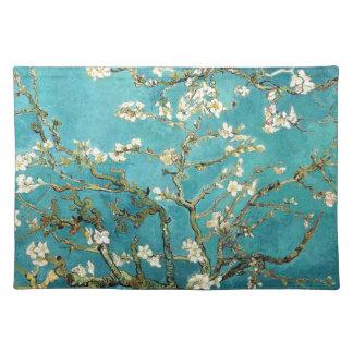 青のゴッホのアーモンドの花の芸術の白い花 ランチョンマット
