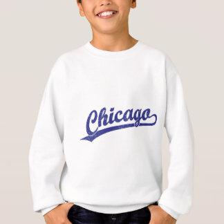 青のシカゴの原稿のロゴ スウェットシャツ