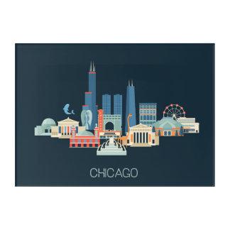 青のシカゴ、イリノイ|のデザイン アクリルウォールアート