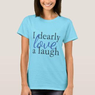 青のジェーンAustenの引用文のTシャツ 愛笑い声 Tシャツ