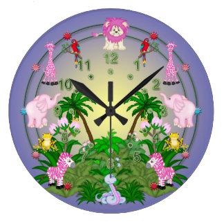 青のジャングルのおもしろい ラージ壁時計
