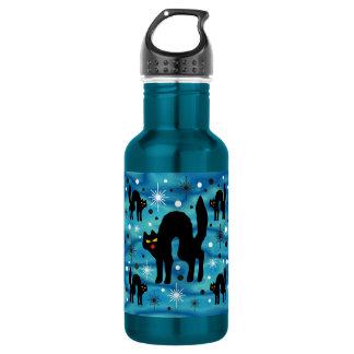 青のスターバストのレトロの黒猫のファンタジー ウォーターボトル