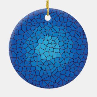 青のステンドグラスのデザインの>Xmasのオーナメント セラミックオーナメント