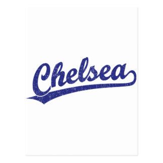 青のチェルシーの原稿のロゴ ポストカード