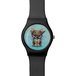 青のチータのカブスのかわいい妖精の身に着けているガラス 腕時計