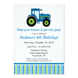 青のトラクターの誕生日のパーティの招待状 カード