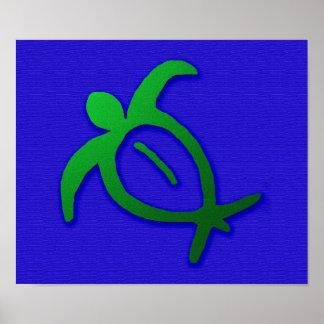 青のハワイアンのHonuの岩石彫刻 ポスター