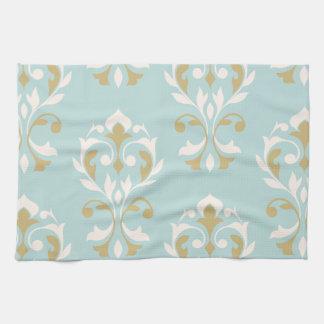 青のハートのダマスク織の芸術Iのクリーム及び金ゴールド キッチンタオル
