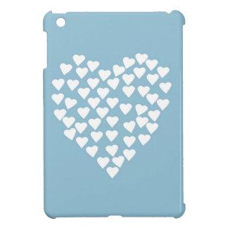 青のハートのハートの白 iPad MINI カバー