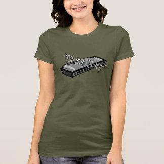 青のハープの女性小柄いTシャツ Tシャツ
