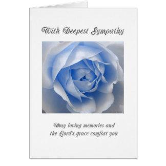 青のバラの宗教悔やみや弔慰カード カード