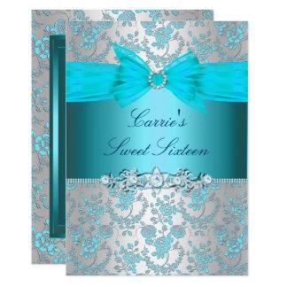 青のバラの弓Sweet sixteenの招待 カード